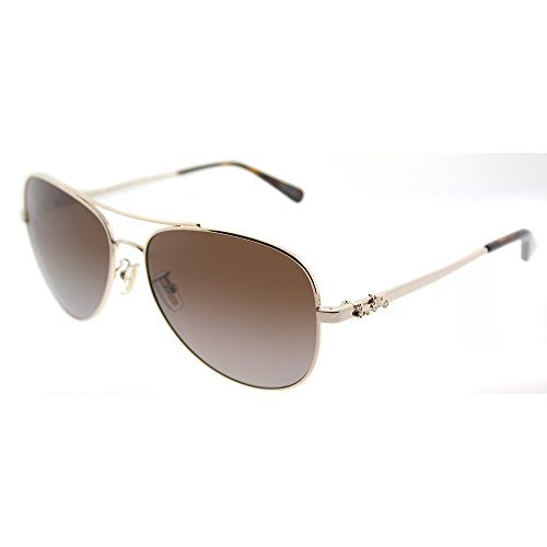 Coach Womens Sunglasses Gold/Brown Metal - Polarized - 59mm