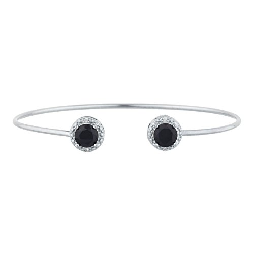 2 Ct Genuine Black Onyx & Diamond Round Bangle Bracelet .925 Sterling Silver
