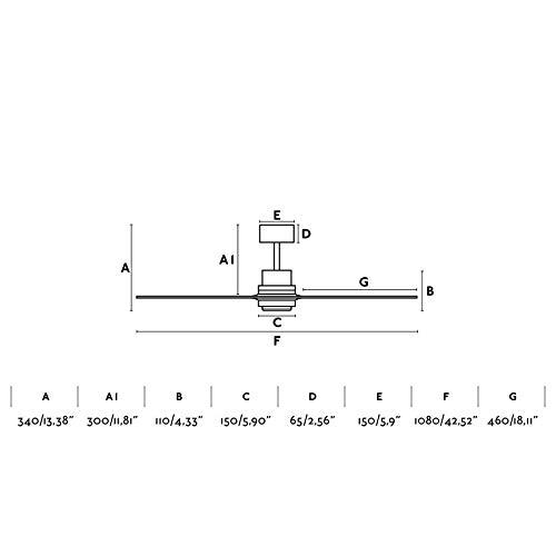 Walnuss Naturholz 33508 Lantau Mini Deckenventilator ohne Licht