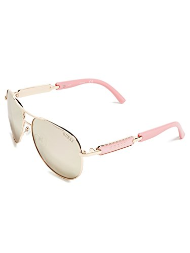 GUESS Women's Metal Aviator Sunglasses, 28G, 60 - Aviator Guess
