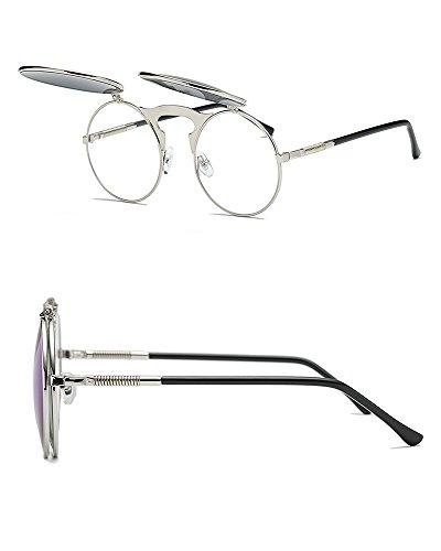 design Vert Style lunettes rétro Argent protection soleil gothique neutre Worclub steampunk UV style cadre de lunettes ronde Oa7dqW7Z