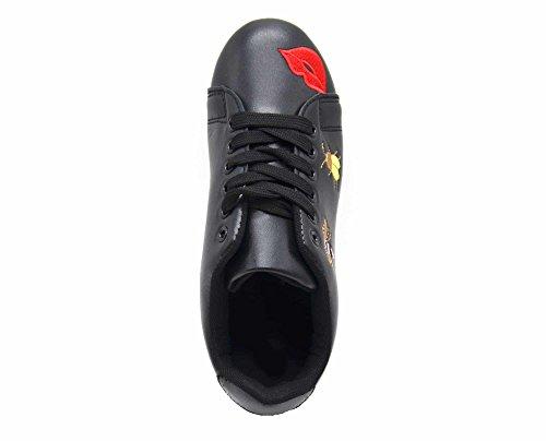 Perforé et Noir Bouche Cuir Patchs Tennis SHY43 Arrière Multicolore Sneakers Baskets Bout avec Abeilles Simili 1WOqST