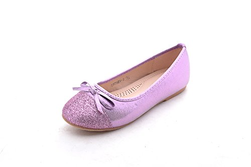 Mila Girls Little Kids Toddler Cute Comfortable Dress Flat Shoes (Esther-3) - Purple Girl Dress Shoes Little