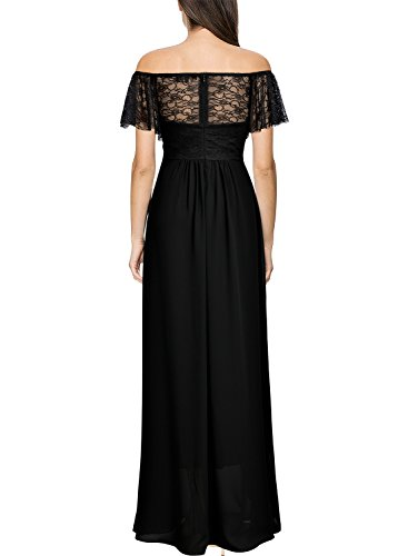 Shoulder Off Black Dress Miusol Casual Floral Women's Lace Maxi qwxzEH85z