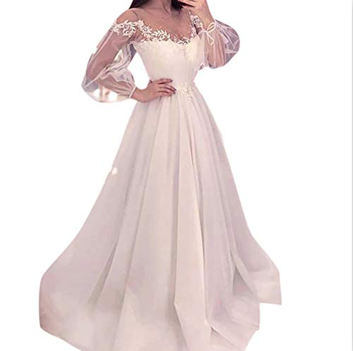 Guo Nuoen Women Elegant White Dress Perspective Long Sleeve Floral Lace Flowy Party Wedding Costume]()