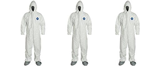 DuPont TY122S-XL-EACH Disposable Elastic Wrist, Bootie and Hood Tyvek Coverall Suit 1414, X-Large, White (3 PACK) by DuPont (Image #1)