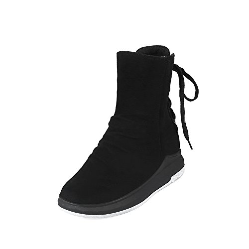 Closed Womens Nubuck Urethane Boots Up MNS02485 Lace Lining Warm Outdoor Road Toe Light Strap 1TO9 Heel Black Weight Urethane Kitten Boots Adjustable Manmade xSAEOwH