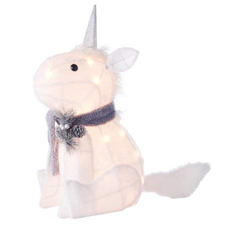 Plush Unicorn Gray & Cream with 20 Lights.  Fun, Festive and Adorable Holiday Time 20-Inch Light-Up Unicorn Helps to make the Holiday Season Extra Special for Kids,Friends and Family (Outdoor Christmas Illuminated Decorations)