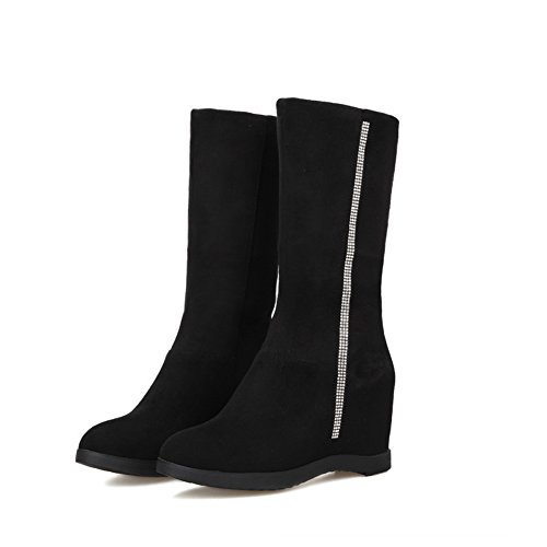 Womens Heighten Foldable Black Frosted Inside AdeeSu On Pull Boots q6dCAaw
