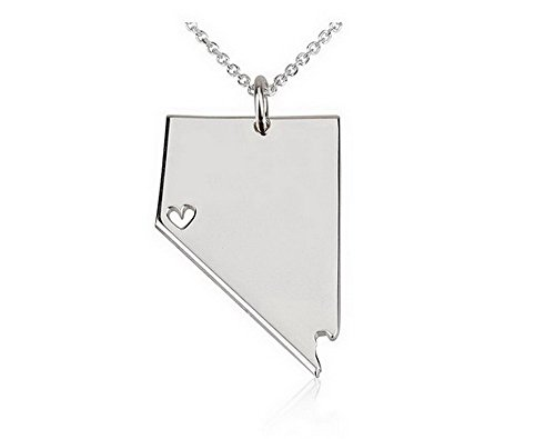State Necklace Nevada State Charm Necklace Sterling Silver State Necklace with a Heart (18 Inches) (Nevada State Charm)