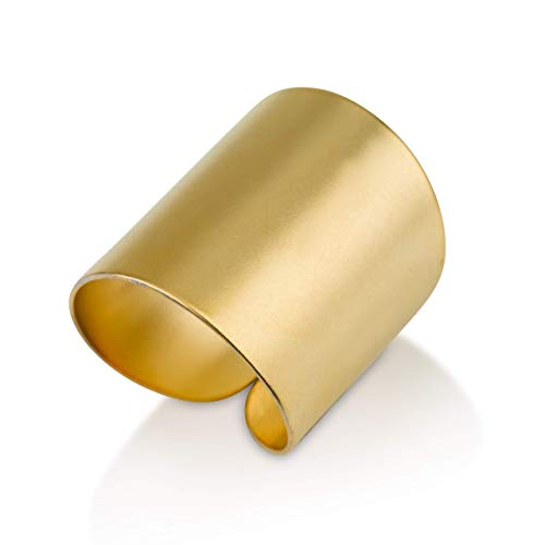 Gold ring, Wide band ring, Adjustable ring, Tube ring