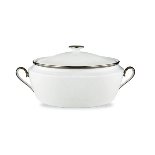 Lenox Solitaire Covered Vegetable Bowl, White (Round Covered Bowl White Vegetable)
