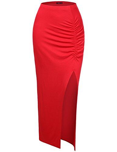 Doublju Women Beautiful Lightweight Maxi Skirt RED,L