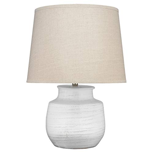 Kathy Kuo Home Axel Coastal Beach Natural Linen Shade White Etched Ceramic Table Lamp