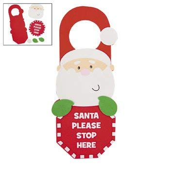 Santa Stop Here Door Hanger Craft Kit - Crafts for Kids and Decoration-makes 12 ()