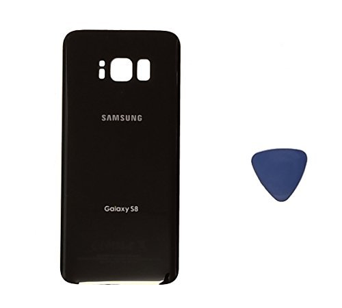 (md0410) Galaxy S8 OEM Midnight Black Rear Back Glass Lens Battery Door Housing Cover + Adhesive Replacement For G950 G950F G950A G950V G950P G950T with adhesive and opening tool