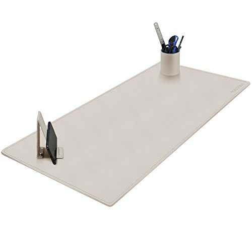Maidern Desk Pad Blotter,39.4'' x 15.7'' Large Office Writing Desk Computer Leather Mat Mousepad with Pen Holder and Cell Phone Stand (Off-White) by MAIDERN