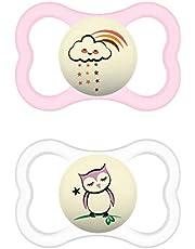 MAM Supreme Night Dummy i uppsättning av 2, lysande babynapp för hälsosam tand- och käkutveckling, förhindrar hudirritation, med nappbox, 6–16 månader, moln/uggla