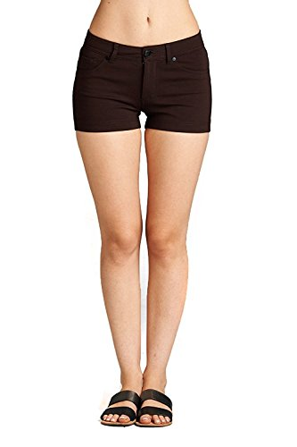 Brown Casual Shorts - Emmalise Women's Summer Casual Stretchy Shorts, New Brown L