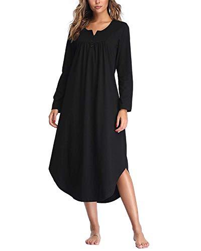 SUNNYME Nightgowns for Women Long/Short Sleeve Sleepshirt Plain Nightdress V-Neck Sleepwear Dress with Irregular Hem