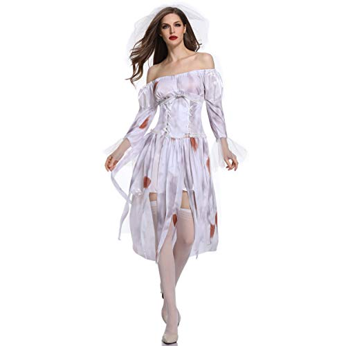 Simmia Halloween Costumes Halloween Costume Female Zombie Cosplay Character Game Uniform, 1849, M