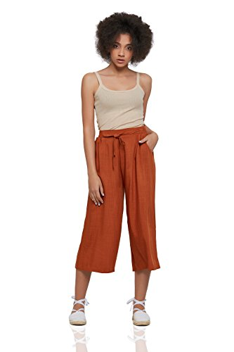Nothing But Love Cotton Culottes With Pockets Wide Leg Cropped Pants High Waist Loose Flowy Capris (Large, (Cotton Wide Leg Pants)