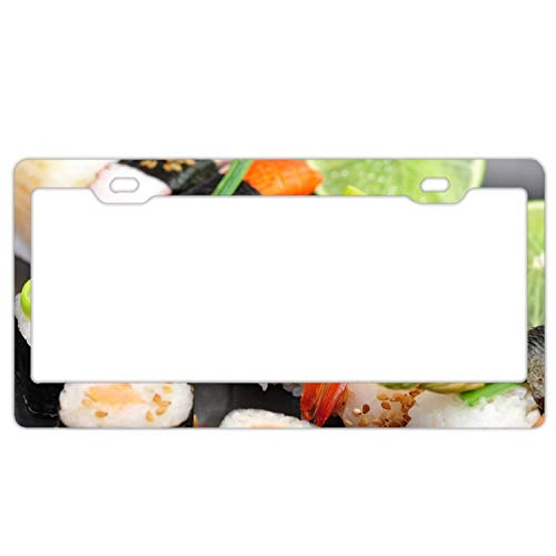 Sushi Rolls Cumin Lime Red Caviar Crab Stick License Plate Holder - Stainless Steel License Plate Frame, License Tag Holder