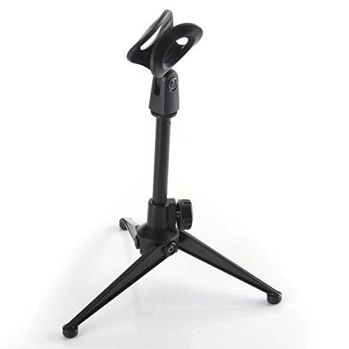 PaddSun Adjustable Foldable Tripod Desktop Microphone Stand Holder with Mic Clip for Meetings, Lectures, Podcasts, and More -