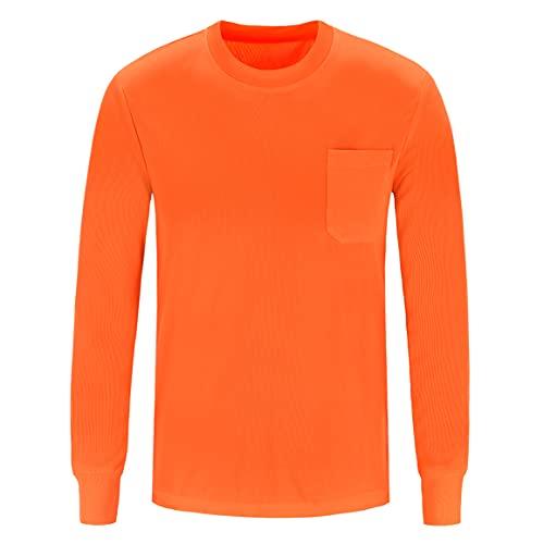 A-SAFETY Camiseta de seguridad de alta visibilidad, camisa transpirable de manga larga Camisa fresca de alta visibilidad naranja