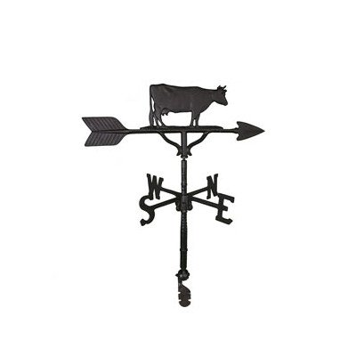 Montague Metal Products 32-Inch Weathervane with Satin Black Cow Ornament