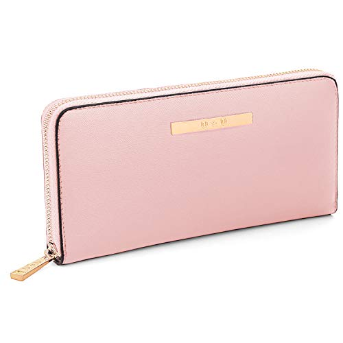 U+U Iphone Wallet Case for Women, Long Clutch Wallet with Zip Around PU Leather Huge Capacity, Pink ()