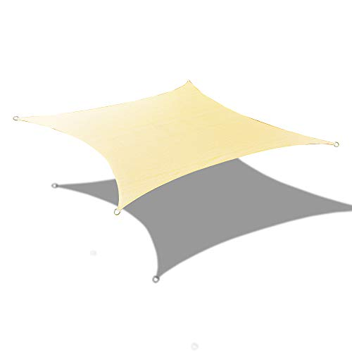 Alion Home Custom Sizes Rectangle PU Waterproof Woven Sun Shade Sail with Stainless Steel Hardware Kits 9.5 x 6 , Scotchbutter