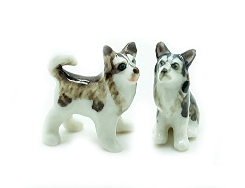 Grandroomchic Animal Miniature Handmade Porcelain Statue Tiny 2 Siberian Husky Alaskan Malamute Dog Figurine Collectibles Gift