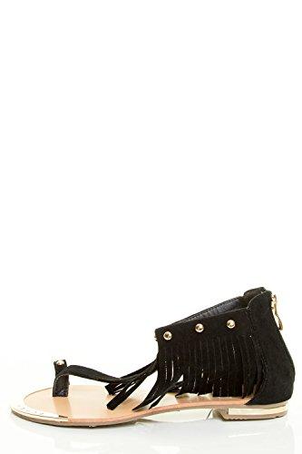 Collegamento Per Sempre Donna Open Toe T-strap Borchia Caviglia Polsino Piatto Sandalo Nero