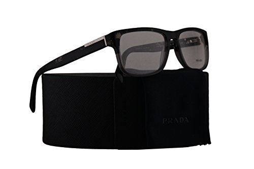 Prada PR07PV Eyeglasses 56-17-140 Spotted Black On Matte Grey w/Demo Clear Lens RO31O1 VPR07P VPR 07P PR - Sale On Prada Sunglasses