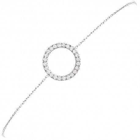BRACELET MOTIF ROND GM OR BLANC et DIAMANTS