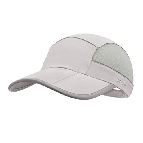 UPF 50 Mens Outdoor Hat Reflective Folding Mens Running Run Sports Sport Hats Summer Cool UV Sun Unstructured Baseball Cap Caps Light Quivk Dry Breathable Travel Golf Hat Hats for Men Women Light Gray