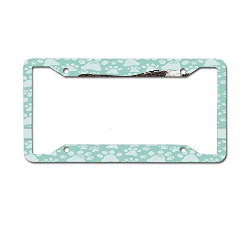Jackie Prout ss Dog Animal Bulldog Apartment Adorable Purebred Cute Furry English Puppy Doggy Friendly Pet Owner License Plate Frame Aluminum Car Tag for US Canada Vehicles 4 Holes and Screws ()