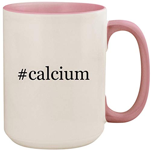 #calcium - 15oz Ceramic Colored Inside and Handle Coffee Mug Cup, Pink ()