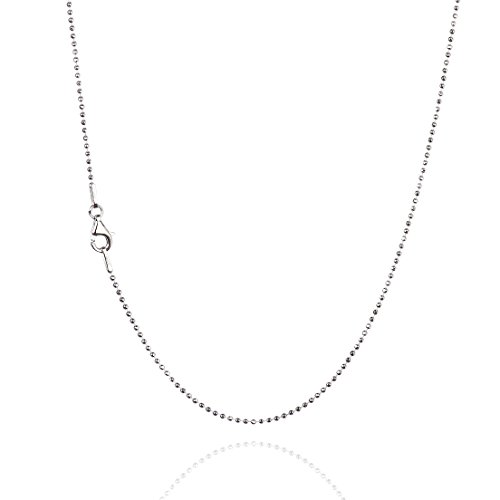 925 Sterling Silver 1.20 mm Diamond-Cut Bead Chain Necklace With Pear Shape Clasp-RHODIUM FINISH (Chain Rhodium Ball)