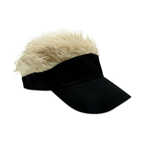 Raylans Novelty Sun Visor Cap Wig Peaked Adjustable Baseball Hat with Spiked Hair (Black2) (Hair Hat Visor)