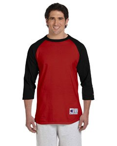 Champion Men`s Raglan Baseball T-Shirt, L-Scarlet/Black