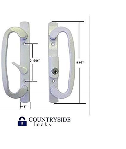 Sliding Glass Patio Door Handle Set, Mortise Type, B-Position, Off Center Latch Keyed, White (Patio Types Door)