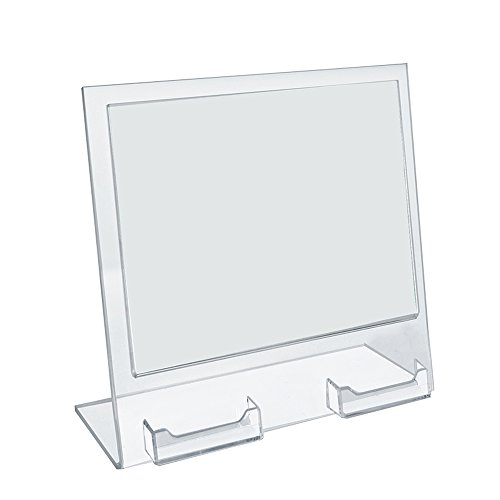 Azar Displays 252075 11'' W x 8.5'' H Slanted Sign Holder with Two Attached Business Card Pockets by Azar Displays