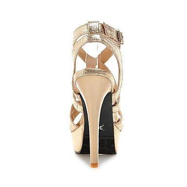 LFNLYX Las mujeres sandalias de verano otros polipiel Office & Carrera & fiesta vestido de noche casual Stiletto talón hebilla Negro Plata Oro Otros Gold