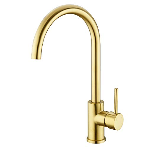 - TRUSTMI Brushed Gold Brass 360 Degree Swivel Hot and Cold Mixer Single Handle Kitchen Sink Faucet