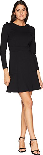 Juicy Couture Women's Knit Fit and Flare Ponte Dress with Button Shoulder Pitch Black 4