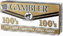 Gambler Light 100 Cigarette Tubes (5 Boxes) 200 Tubes Per Box by Gambler
