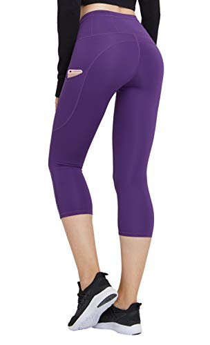Women Workout Leggings with Pockets Capri Leggings High Waist Yoga Pants Capri Length Purple 6 ()