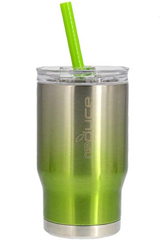 - REDUCE COLDEE 14oz Stainless Steel Tumbler - Small Insulated Cup With Straw - Insulated Cups Are Ideal for Toddlers/Kids, Includes Clear Lid and Straw & 3-in-1 Lid - Portable, Fits Car Cupholders